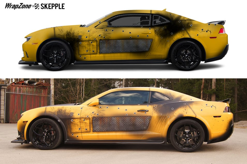 Transformers Bumblebee Battle Vinyl Wrap | Skepple Inc