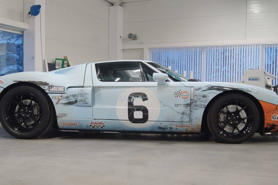 Hp Twin Turbo Ford Gt In Gulf Gt Distressed Weathered Livery Wrap Design By Skepple Inc