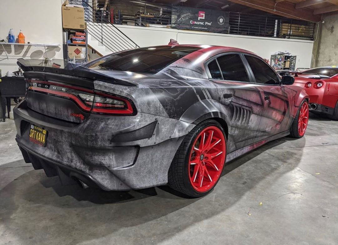 Ss Customs Dodge Charger Hellcat Widebody Custom Vinyl Wrap Design Fighter Military Weathered Dirty 1 Skepple Inc